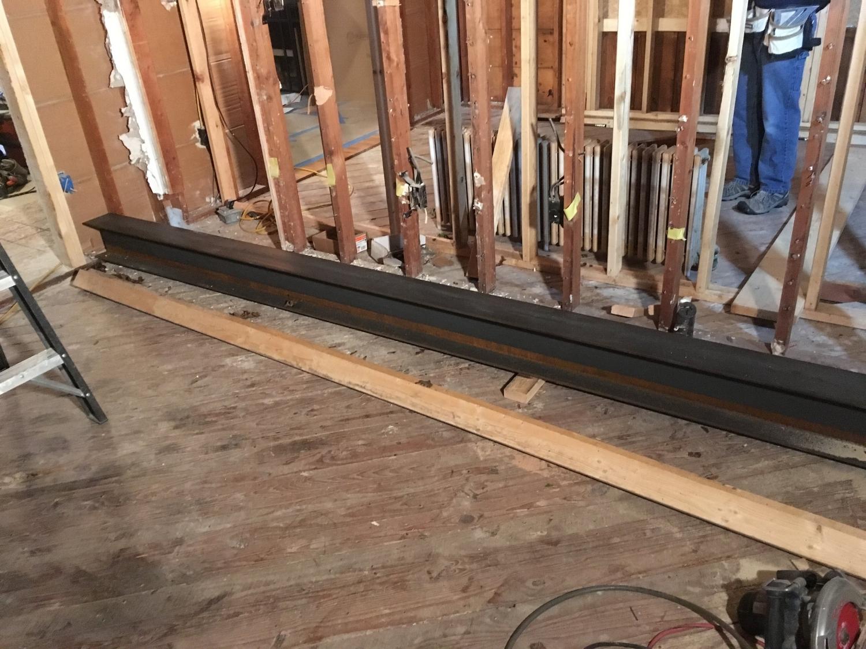 Steel beam in position