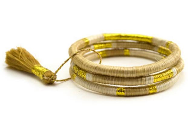 Across Africa - Natural Gold Aria Bracelet (Set of 3) $22