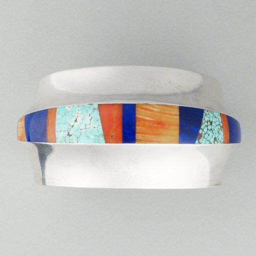 Duane Maktima - Silver, Turquoise, Spiny Oyster and Lapis Lazuli Bracelet $1800