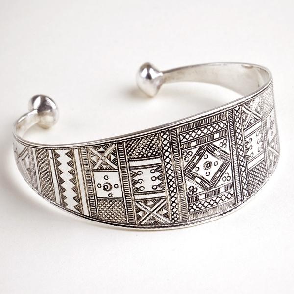 Diamond Motif Silver Cuff