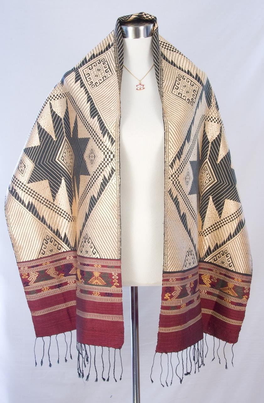 Tai Daeng Silk Scarf with Sun Pattern
