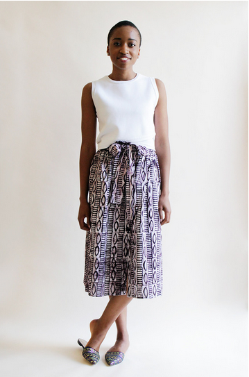 Print Paper Bag Midi Skirt, Rwanda