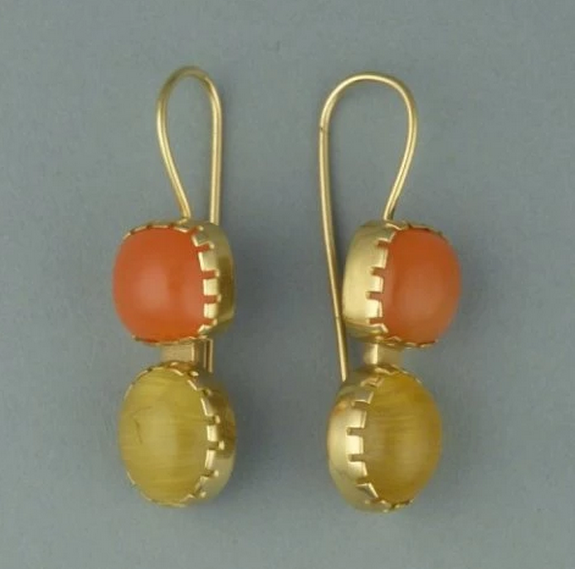 Gold Earrings with Orange & Yellow Citrine, Navajo