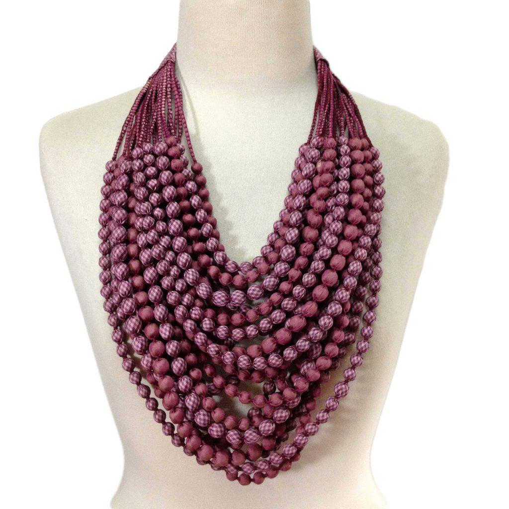 Sari Bead Necklace, Mulberry