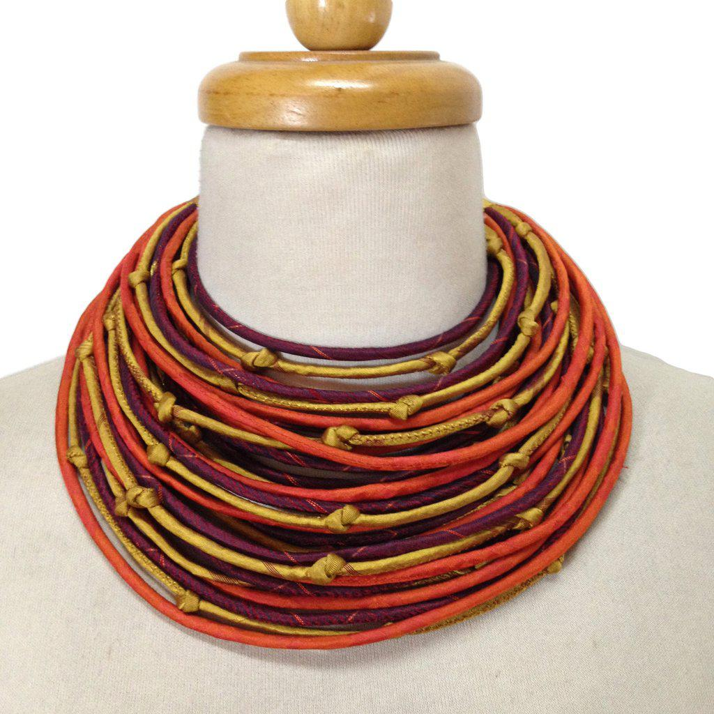 Sari String Necklace, Gold, Orange & Red