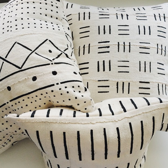 Limited-edition white mud cloth pillows