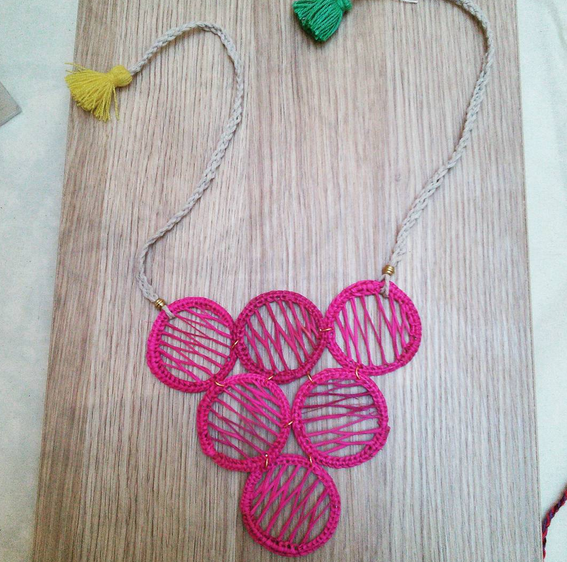 Straw filigree tassel necklace