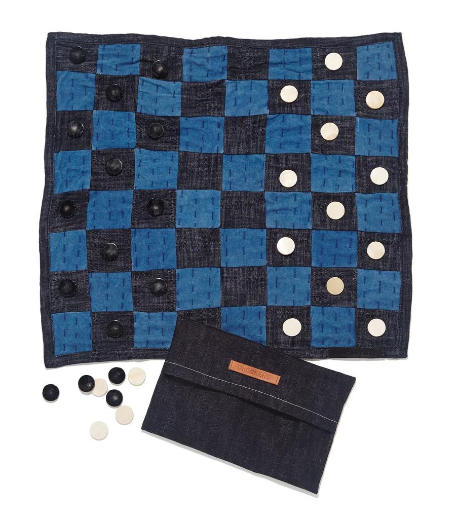 Indigo Checkers Board