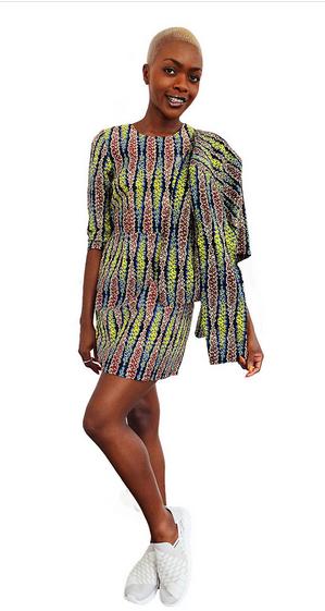 Coral Long Sleeve Shift Dress