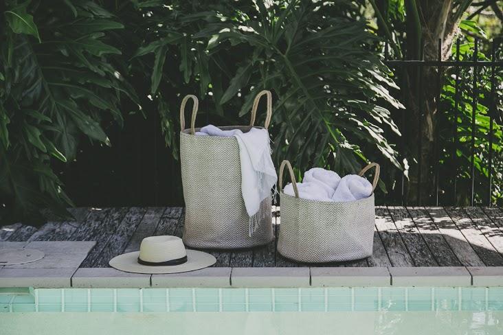 White Herringbone Loomed Baskets