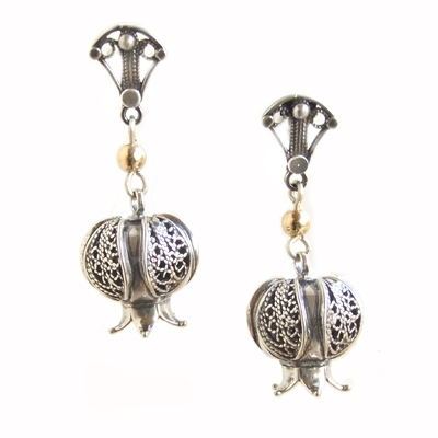 Filigree pomegranate earrings with bead