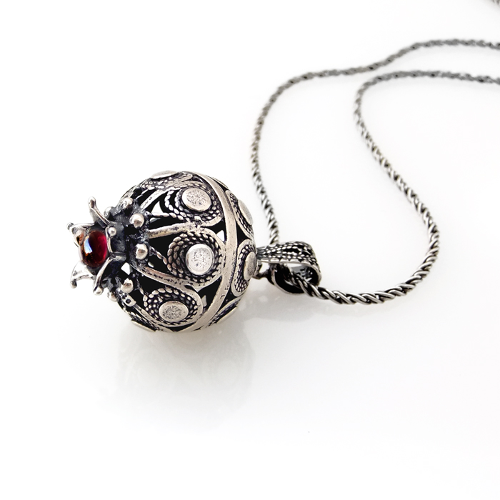 Handmade filigree pomegranate pendant