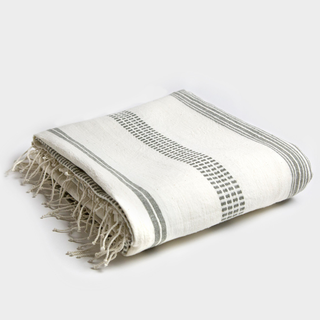 Grey Stripe Tablecloth by Creative Women