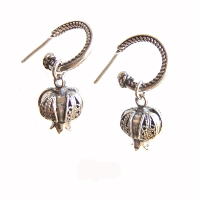 Ben-Zion David Yemenite silver filigree pomegranate earrings jewelry