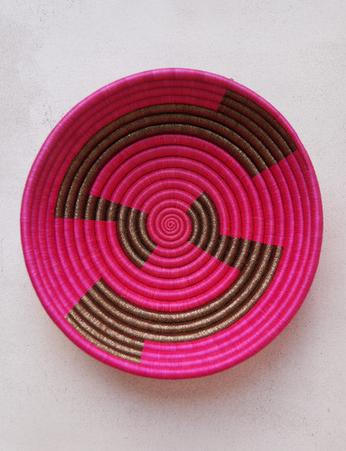 Indego Africa geometric gold plateau basket handwoven artisan sisal sweetgrass pink Rwanda
