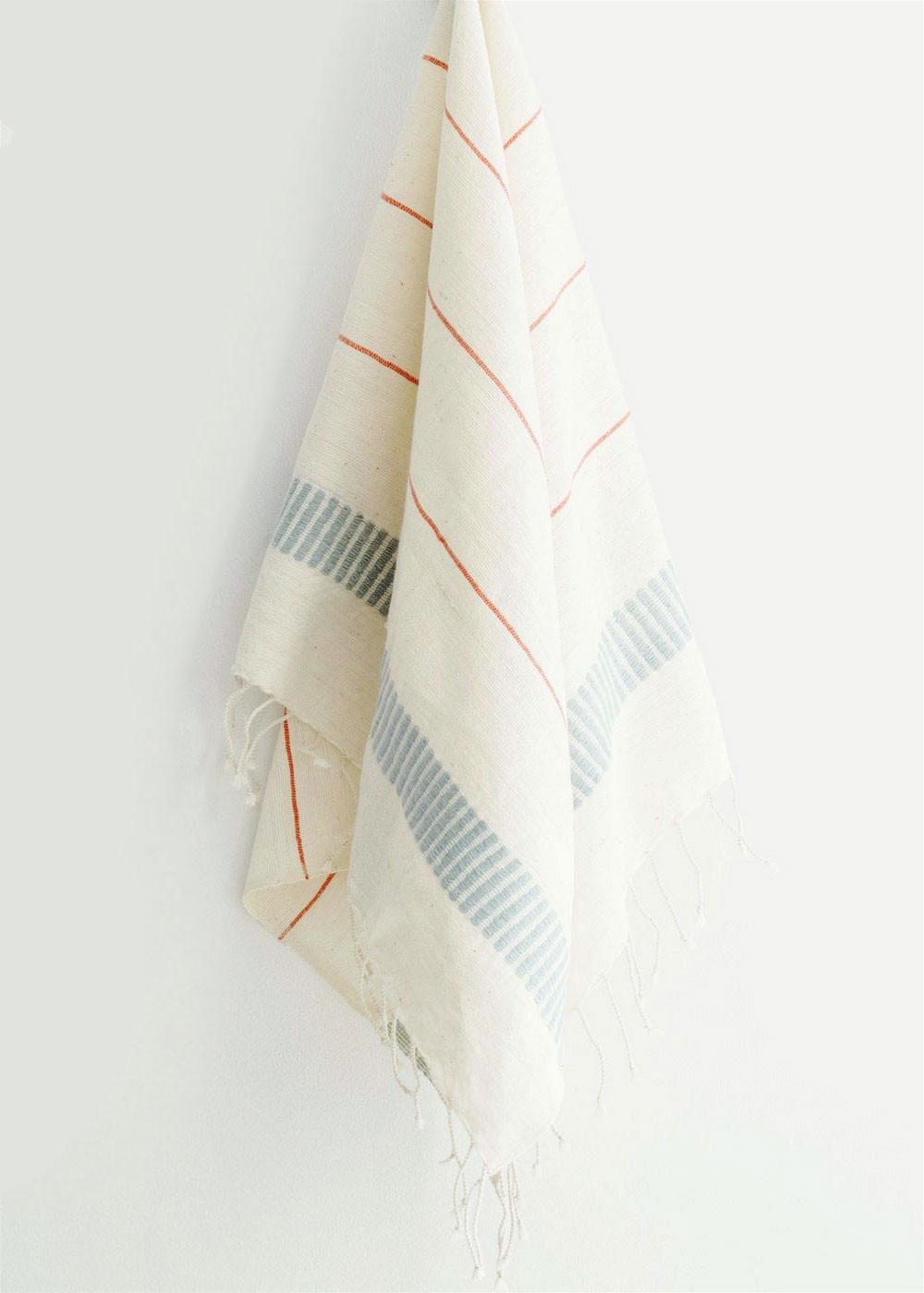 Aksum Hand Towel, Coral/Azure