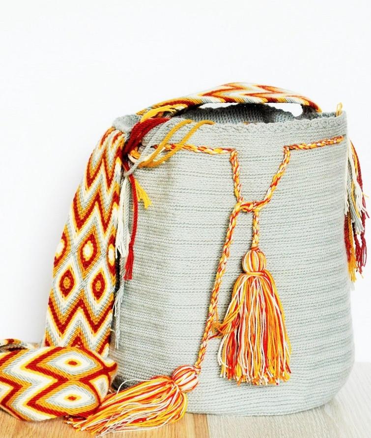 Grey Riohacha Wayuu Mochila Bag