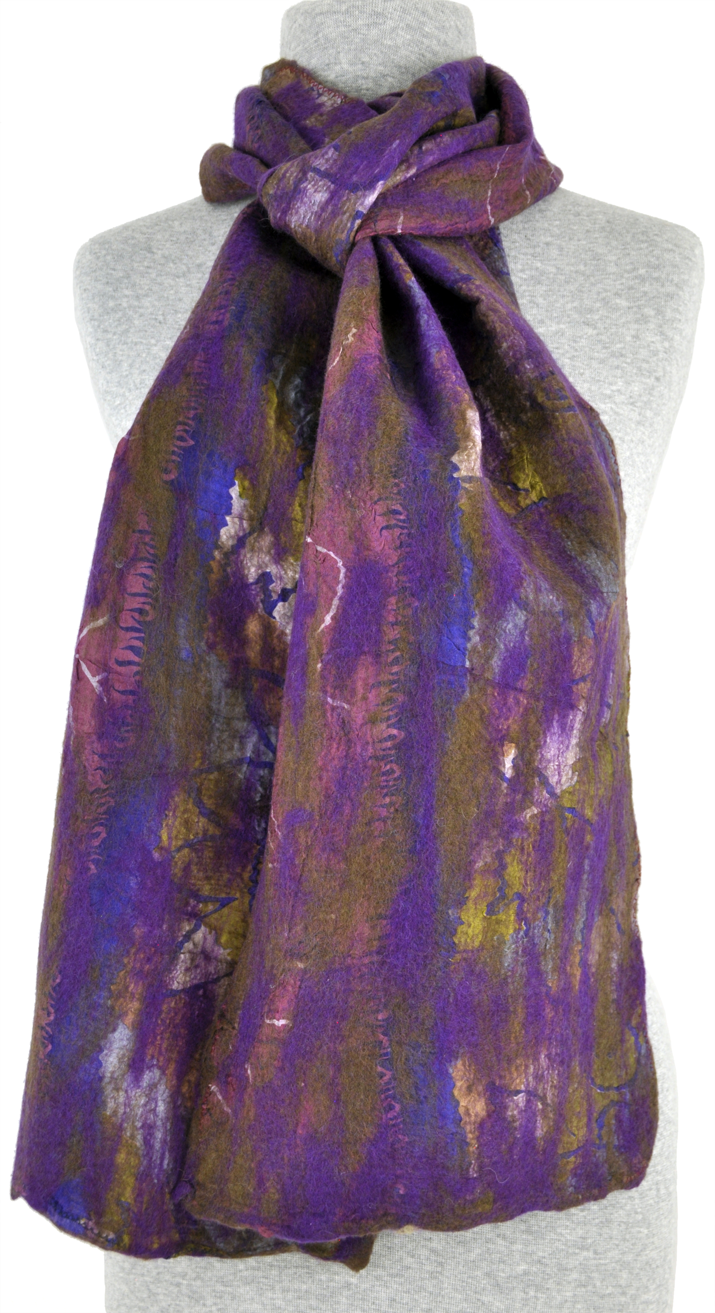 Felted Violet and Gold Sari Collage Scarf