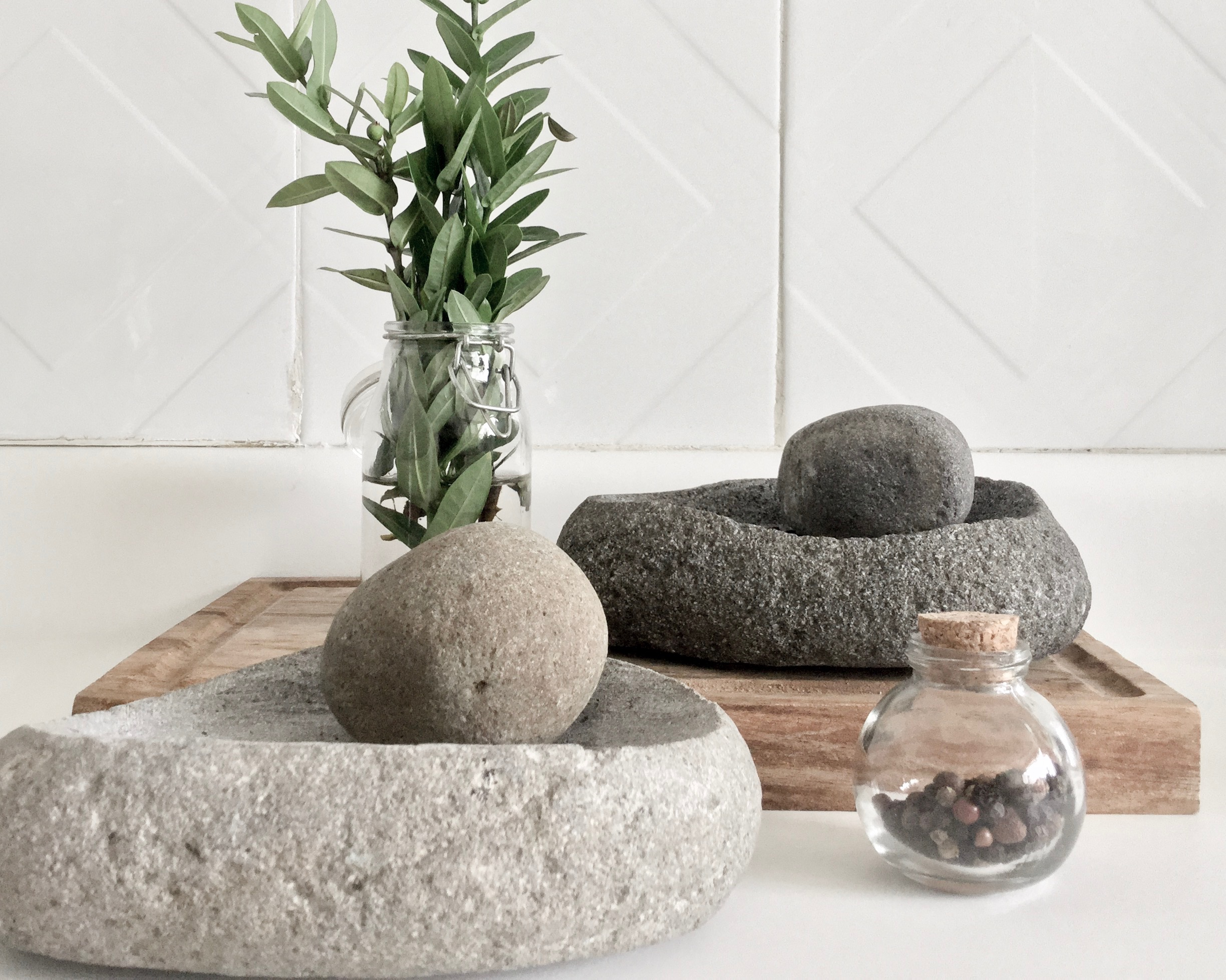 Hand-carved river rock pestle and mortar