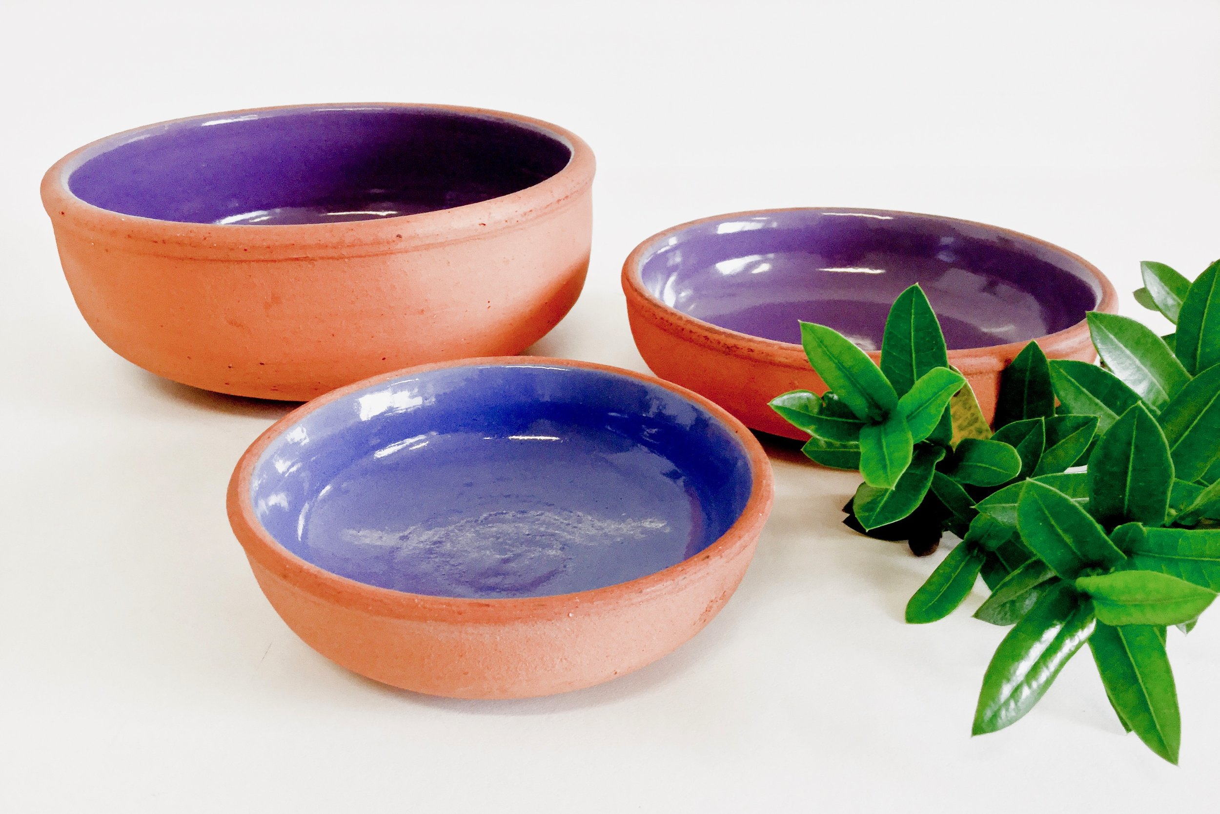 Mini red clay casseroles