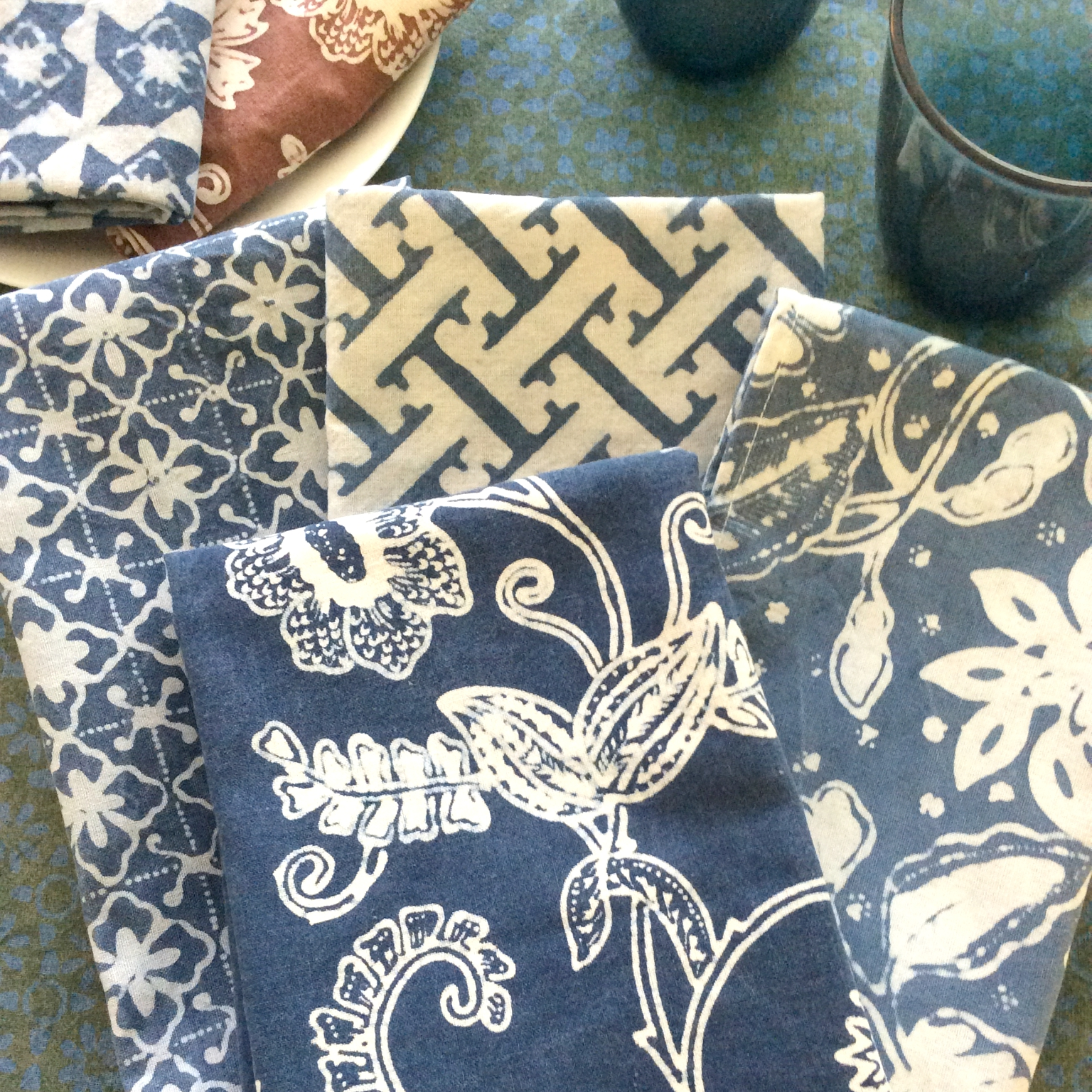 Mixed indigo napkins