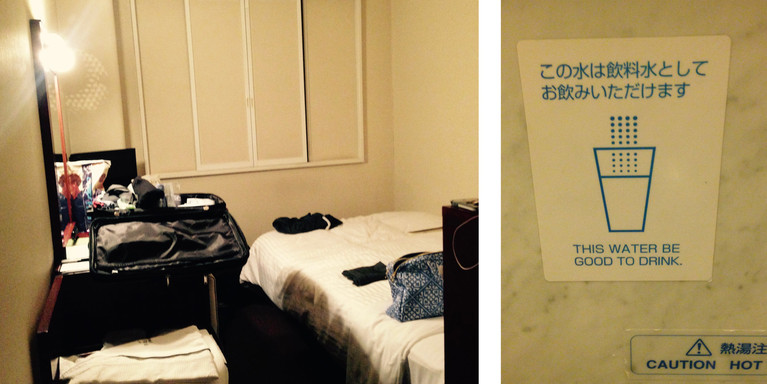 Our first tiny hotel room,and the English translated sign above the sink in the bathroom,love it!