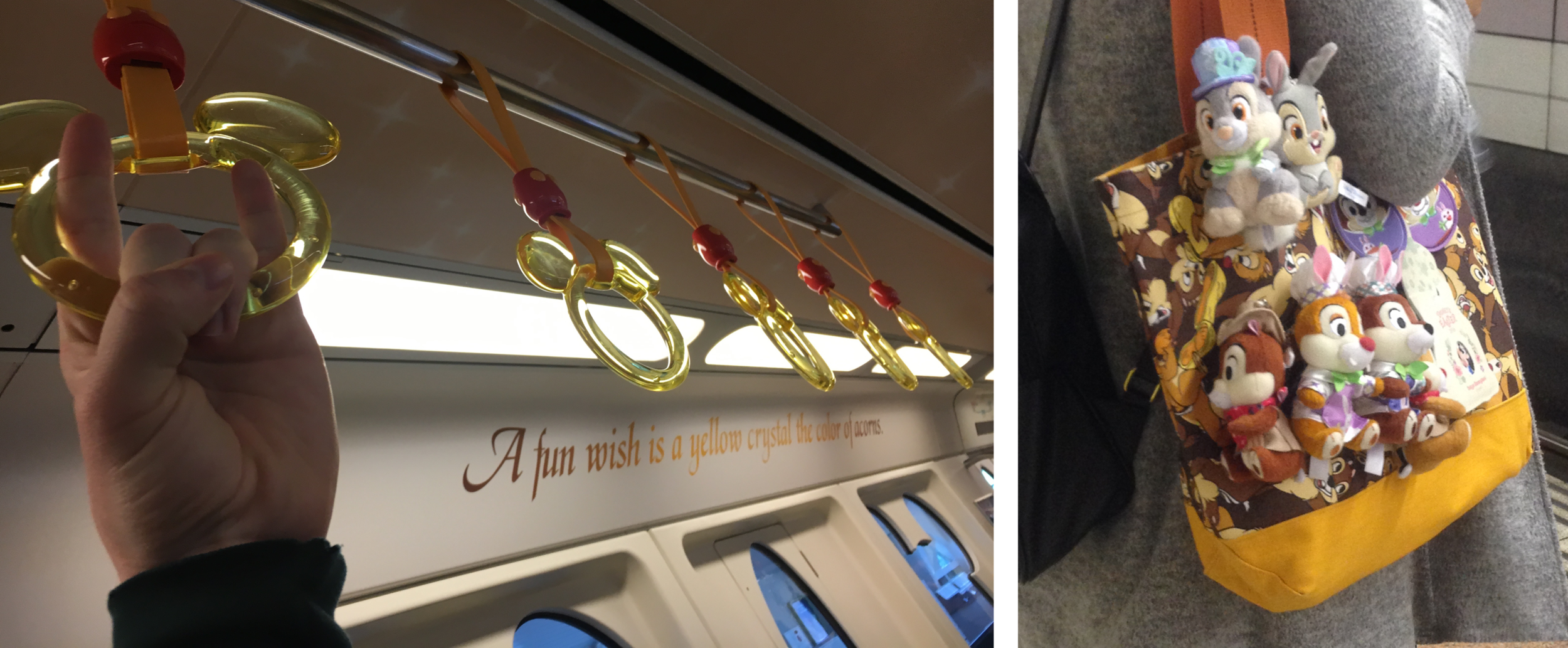 """(Left)""""A fun wish is a yellow crystal the color of acorns."""" (Right) A woman showing Disney spirit!"""