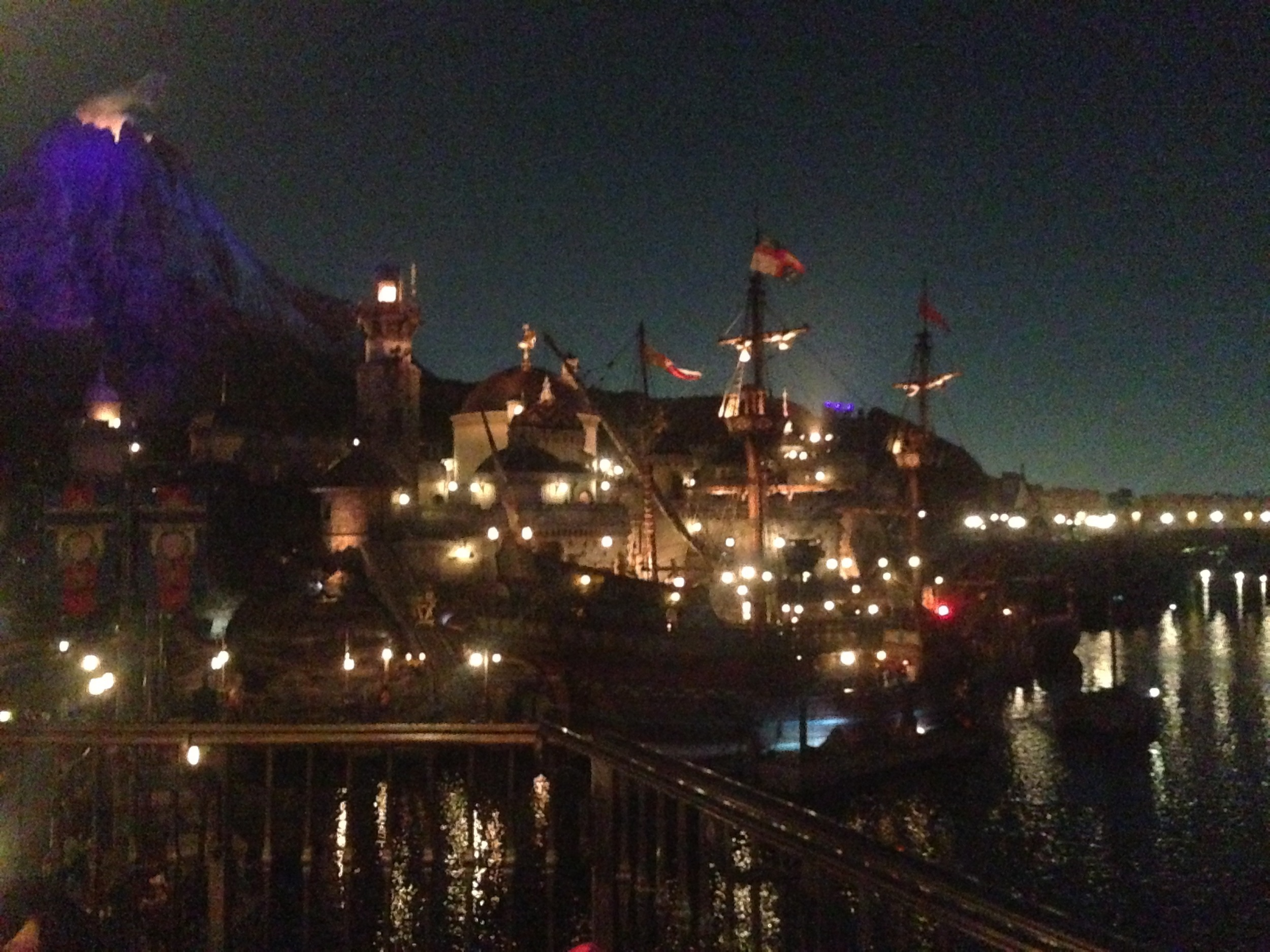 Pirate ship, a Medieval castle, and volcano on the Mediterranean lagoon.