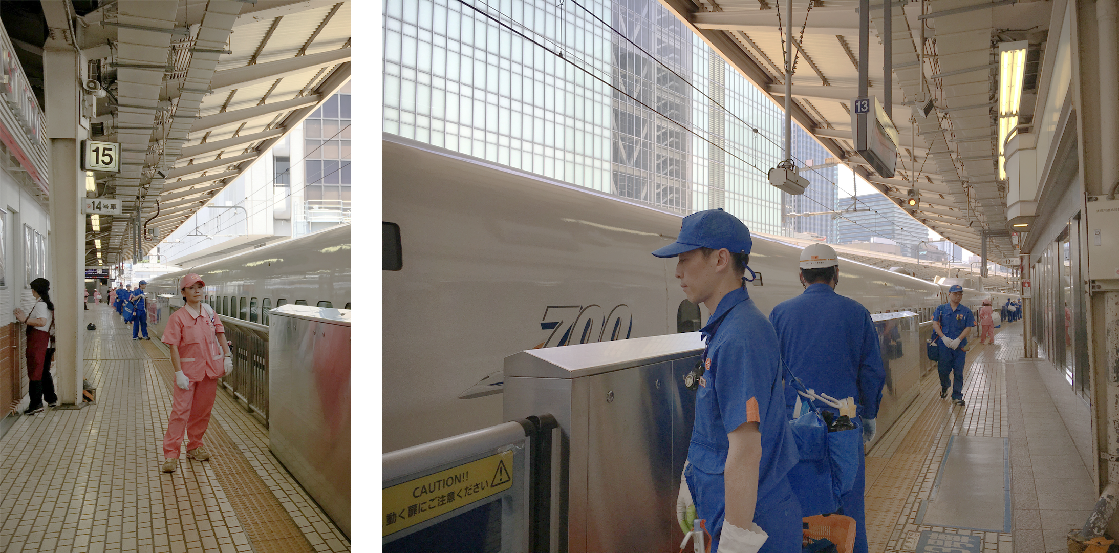 The Shinkansen attendants getting ready to clean at bullet speed.