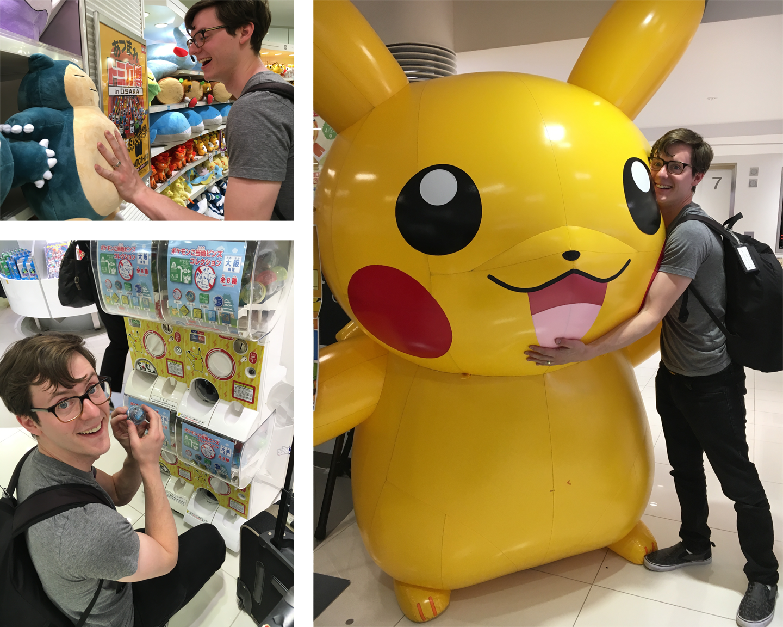 Michael petting a Snorlax... getting a vending machine pin... hugging a GIANT Pikachu!
