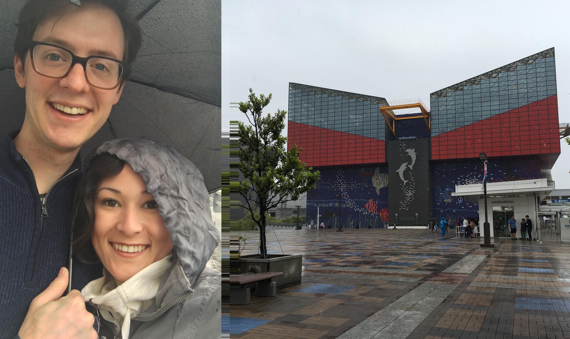 Michael and I at the Osaka Aquarium Kaiyukan on a rainy day.