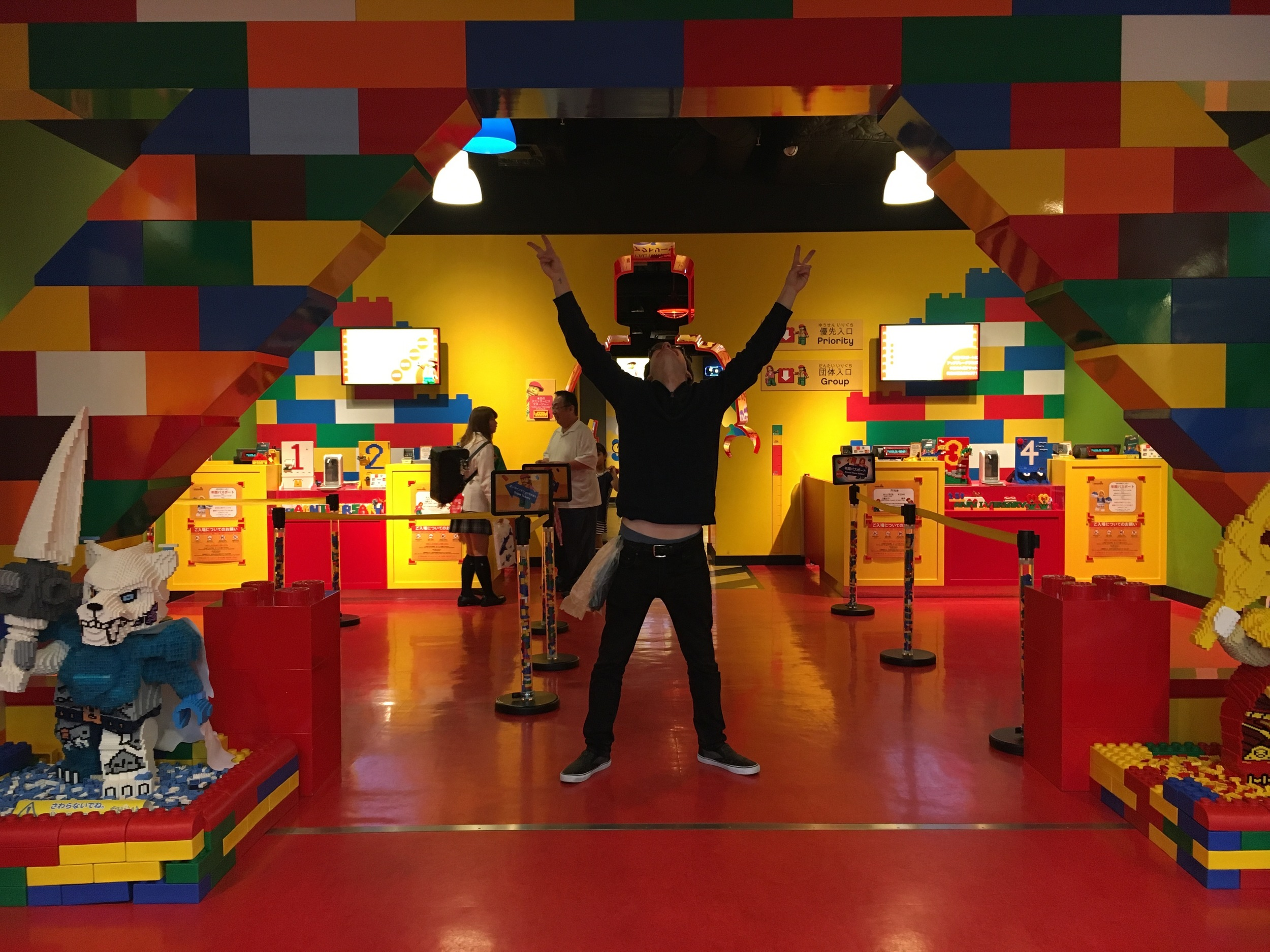 Michael flashing the peace sign at the Lego Discovery Center in Osaka!