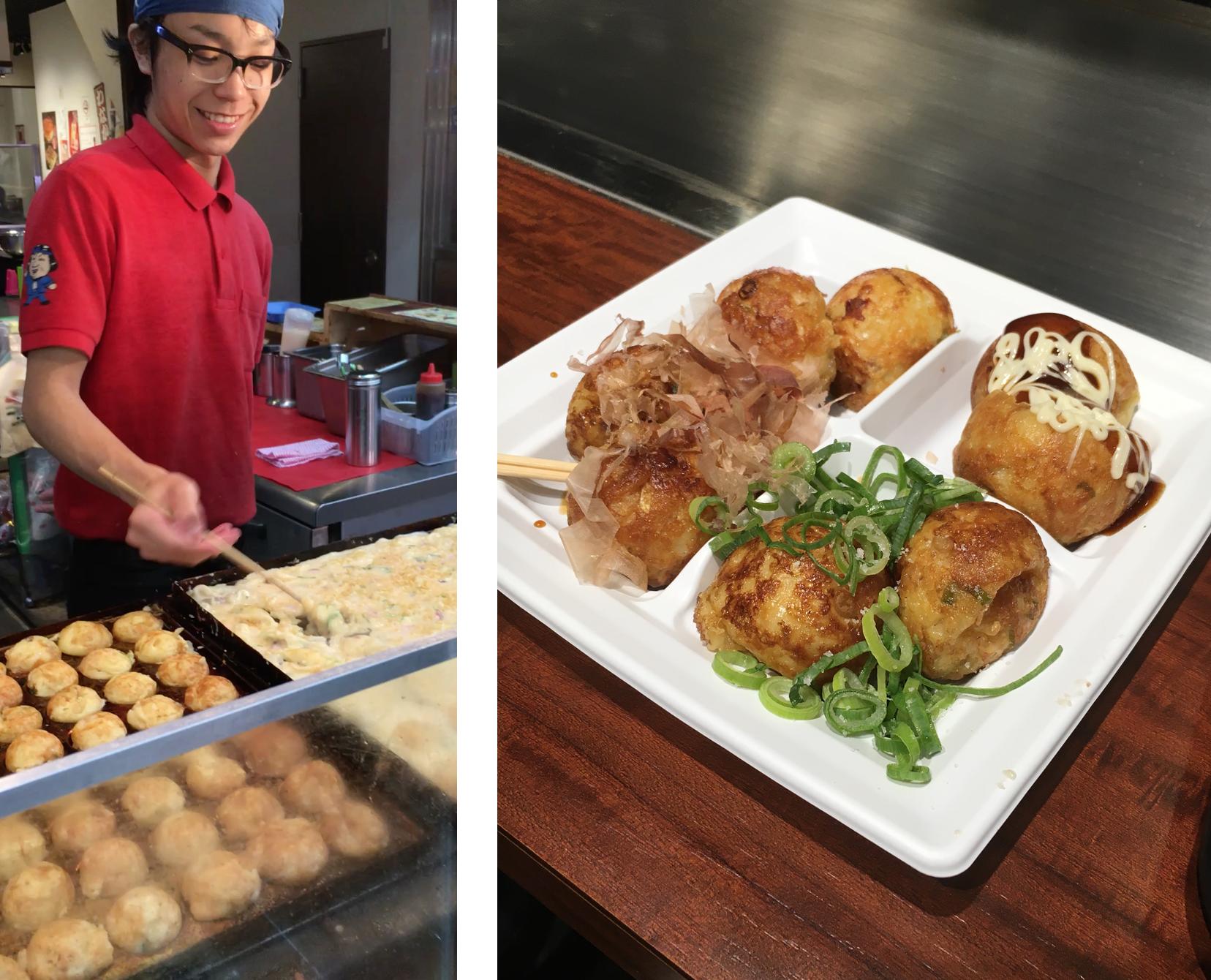Takoyaki, swiftly prepared in special semi circular cut pans and artfully served.