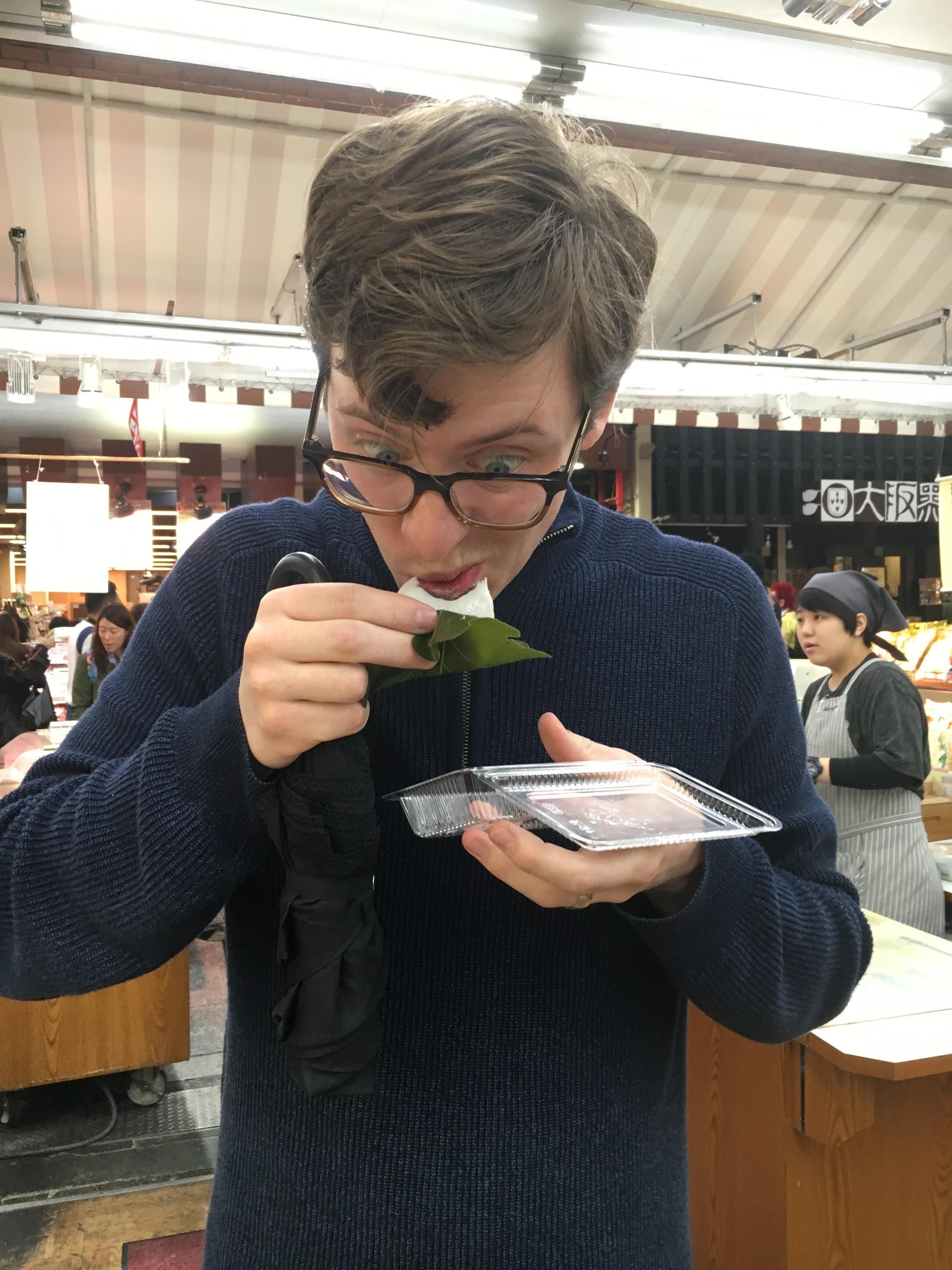 Michael trying mochi...