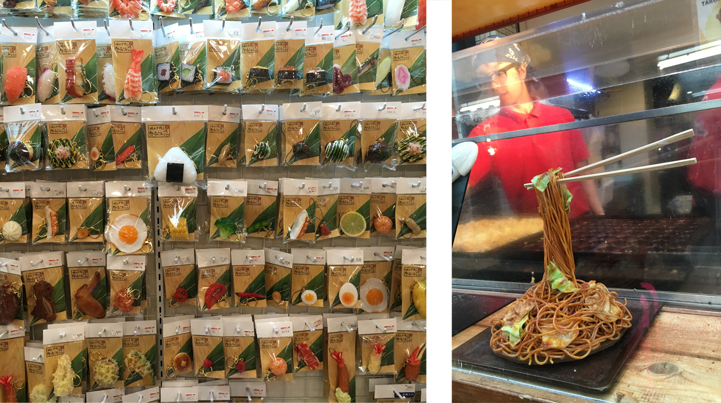 (Left) Realistic fake food keychains. (Right) Fake food showing what the stand served.                              Fake food was everywhere!