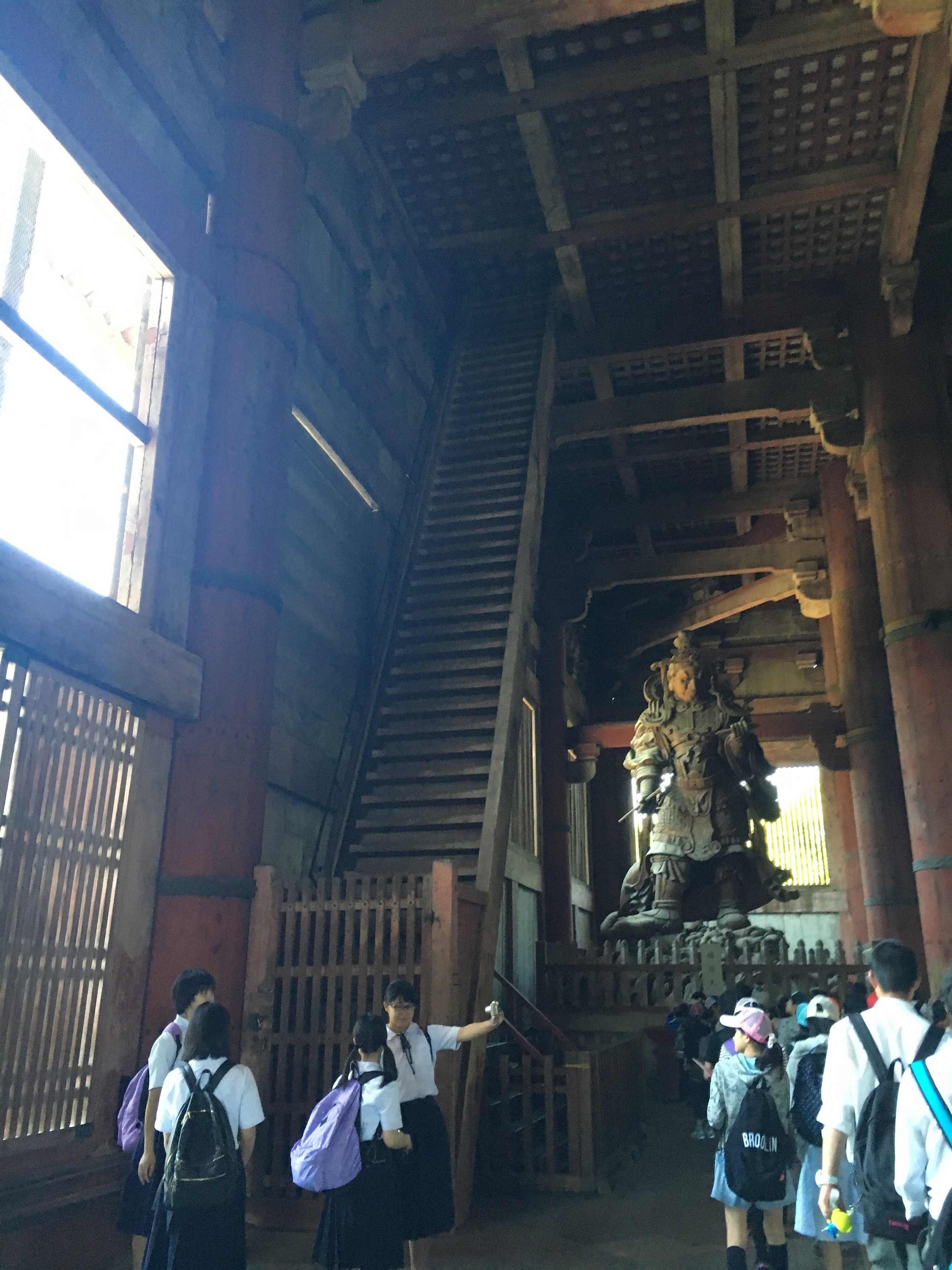 Very steep stairs to the lowest interior deck in Todaiji.