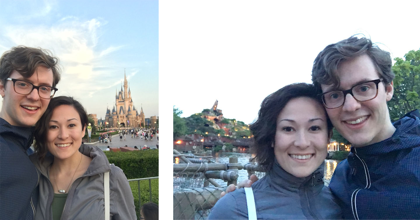 Michael and I in front of Cinderella's castle, and across the lagoon from Splash Mountain.