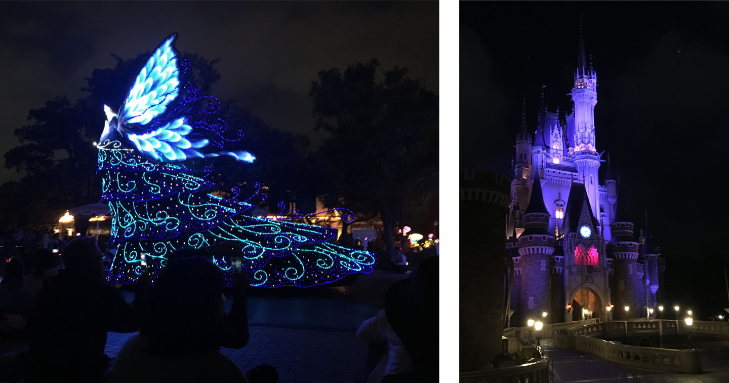 The light parade and the castle ready to be illuminated in images! (That fairy was like 16'+ high!)