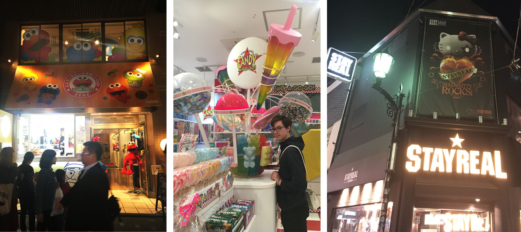Baby Sesame Street Store, Michael in a candy store, and this heavy metal Hello Kitty. Stay Real.