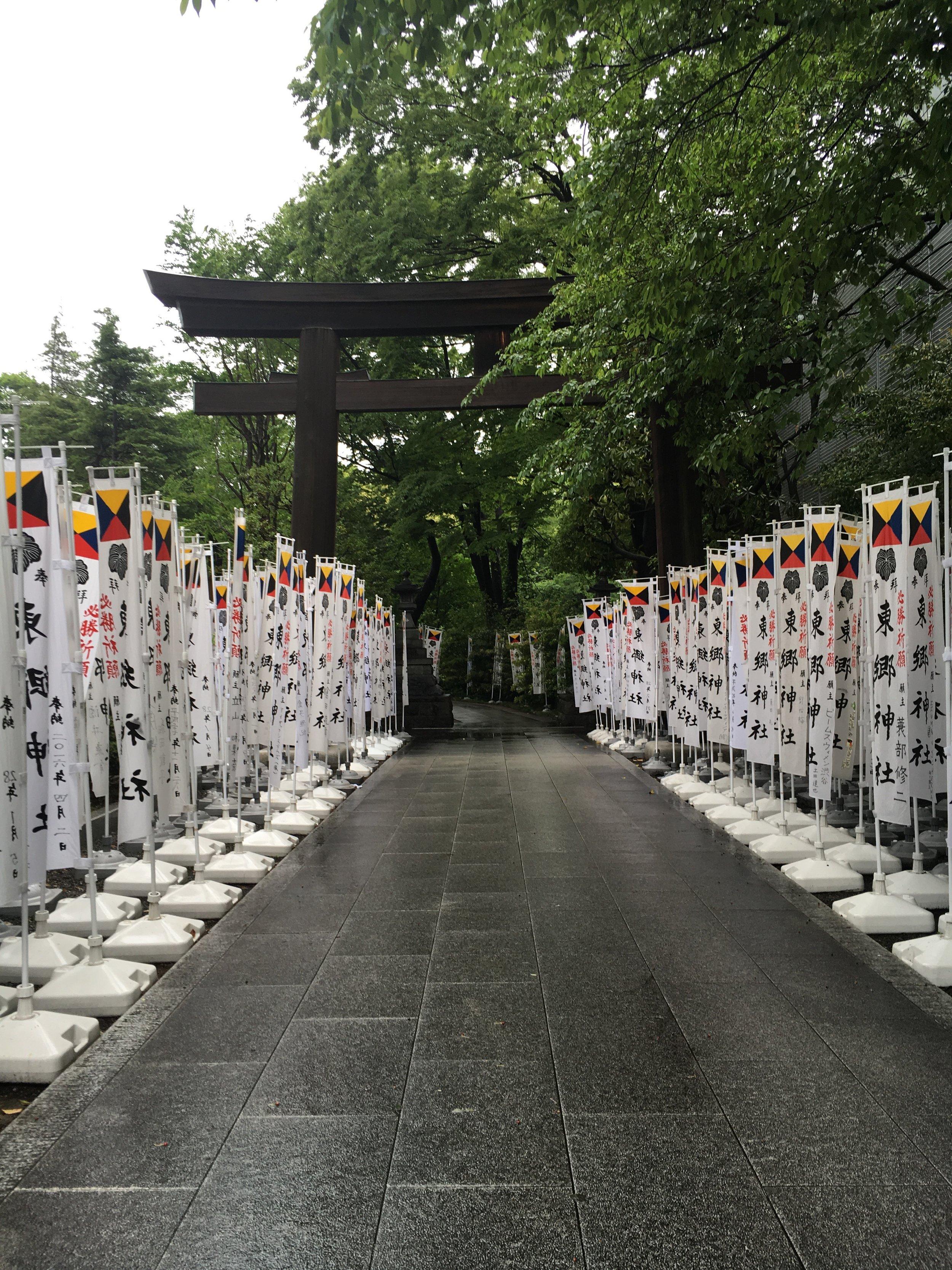 Beautifully aligned under the torii.