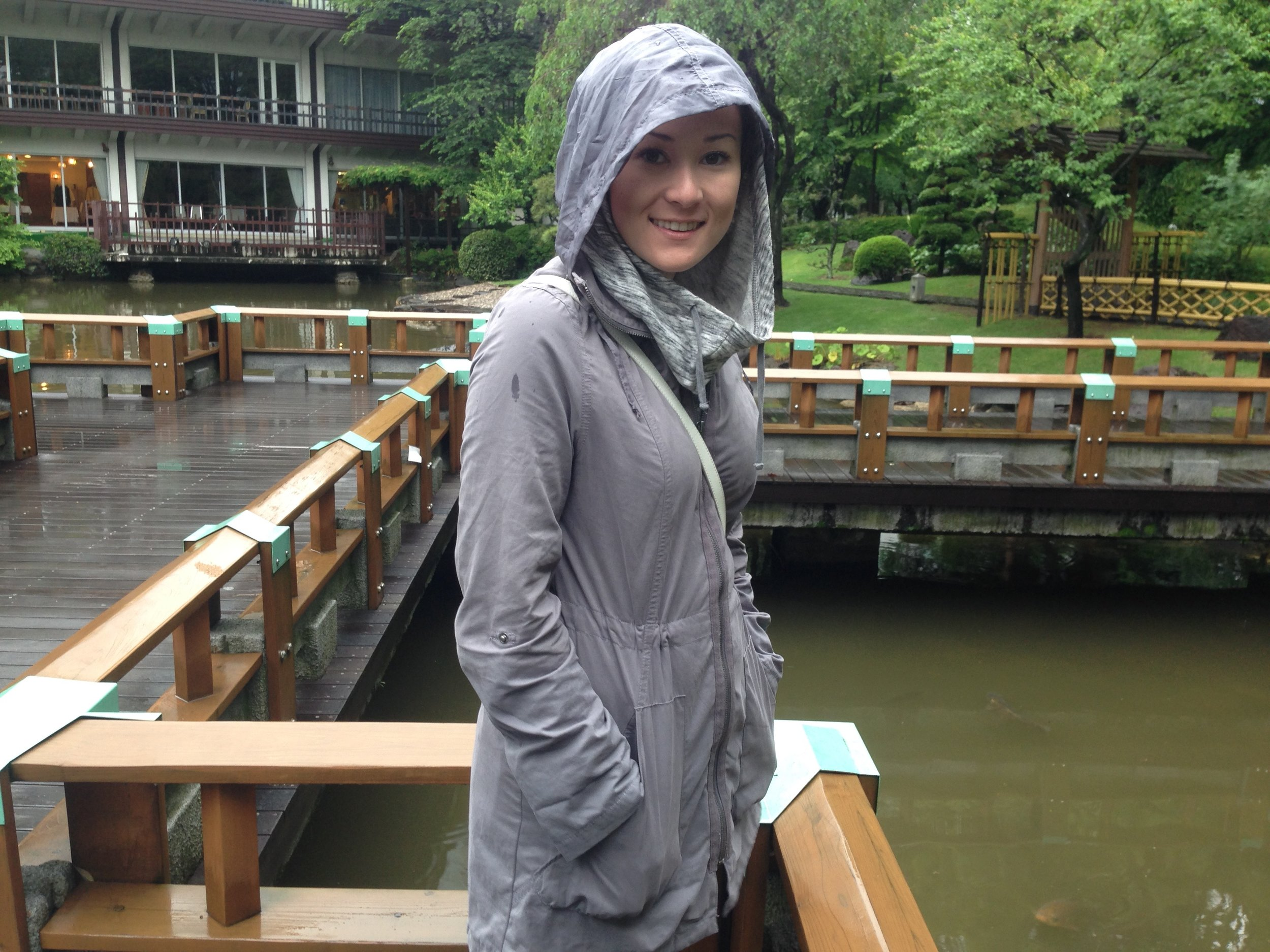 Me at the koi pond. Sometimes a rainy day still makes for a pretty one.