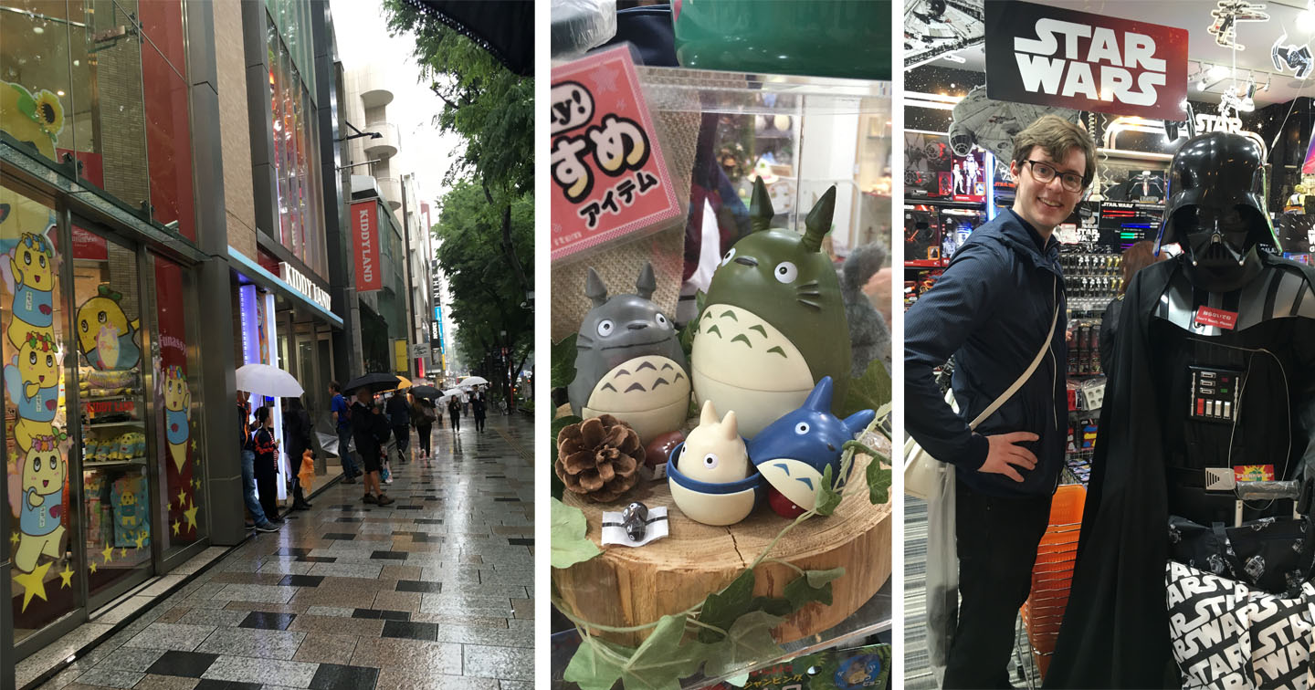 """Street outside Kiddy Land... """"My Neighbor Totoro"""" Totoros!... and Michael and his buddy, Vader."""