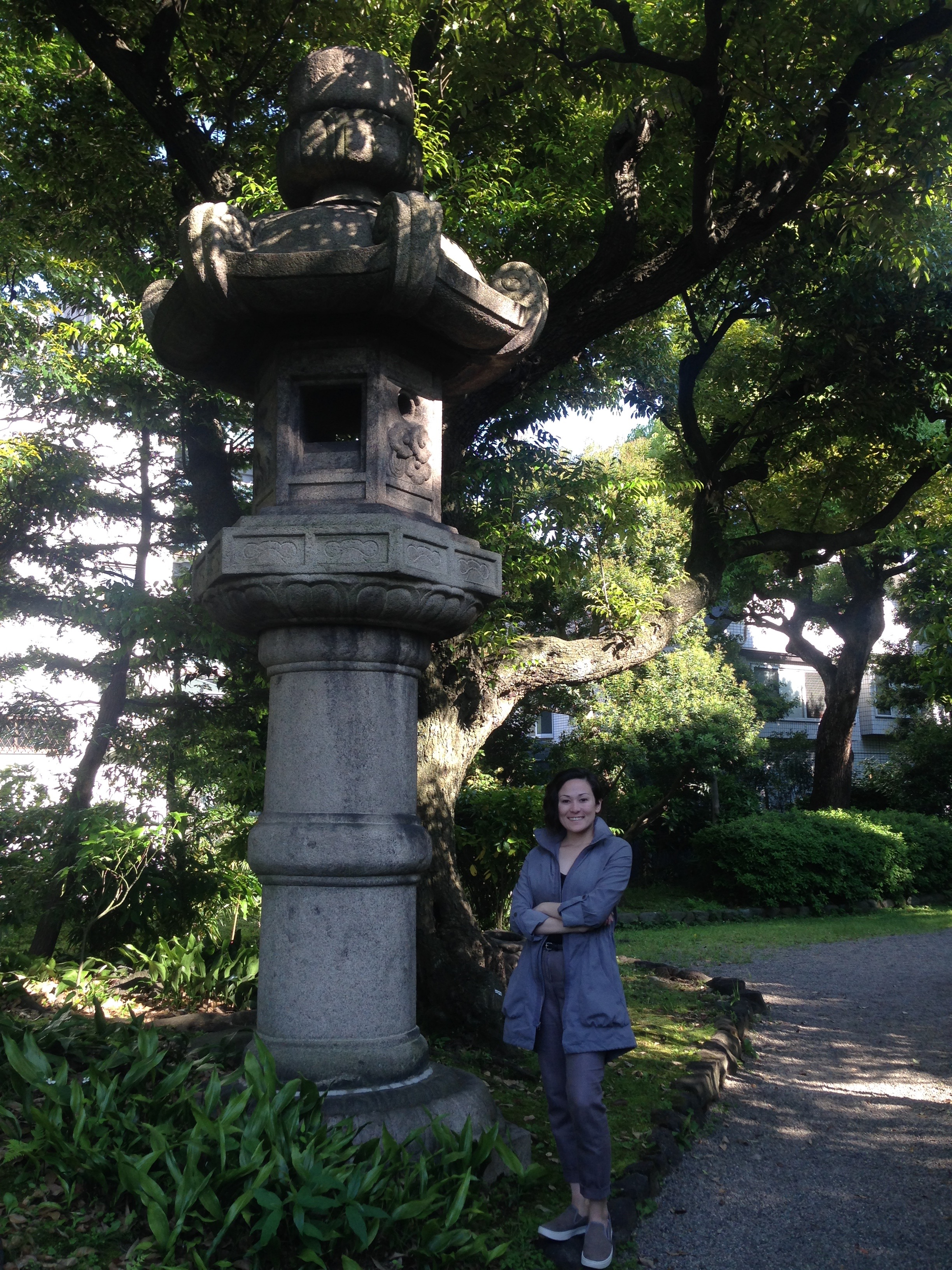 Me next to a HUGE lamp on our way to the sumo shrine.