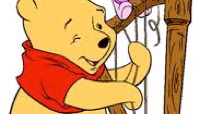 Winnie the Pooh plays the harp