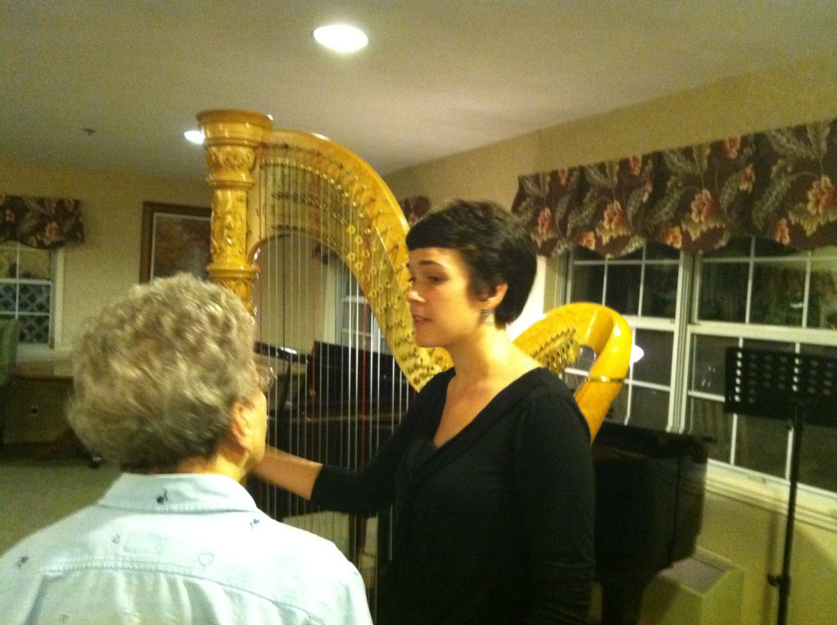 Leigh Stringfellow answering questions about the harp in Boone, NC