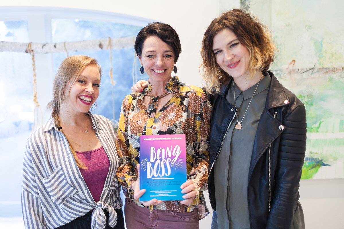 Emily Thompson (Being Boss co-author), Grace Kraaijvanger (Founder of The Hivery), and Kathleen Shannon (Being Boss co-author)