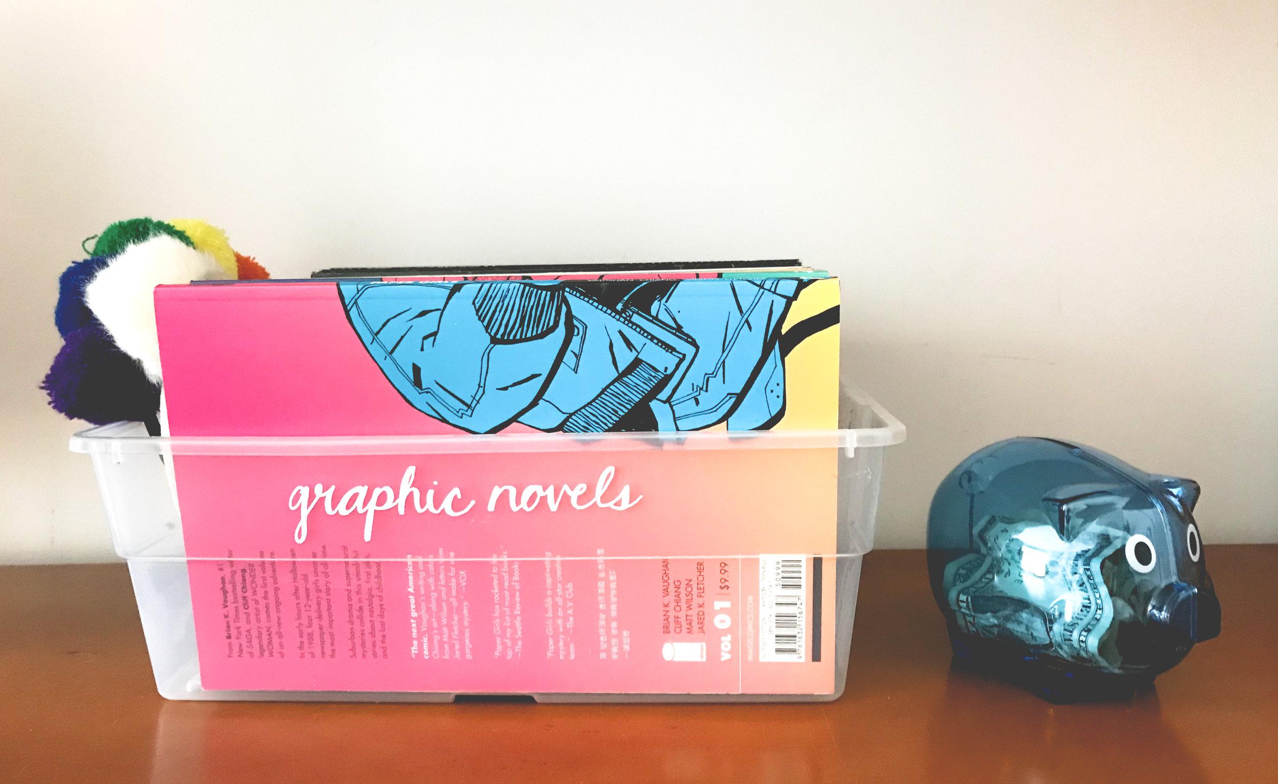 organizing girls room graphic novels