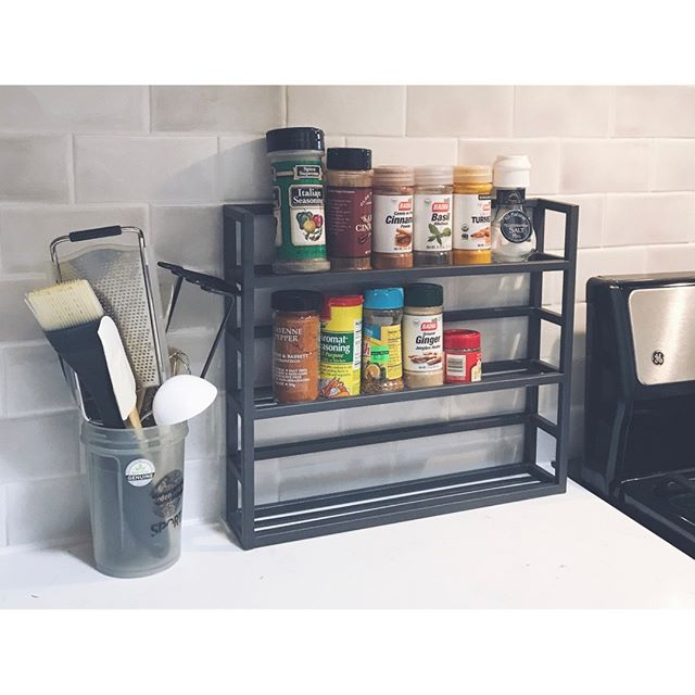 "Check out our new 'small spaces' Story Highlight for a few tips on making limited kitchen space work for you! ⠀⠀⠀⠀⠀⠀⠀⠀⠀ ⠀⠀⠀⠀⠀⠀⠀⠀⠀⠀⠀⠀ I love the ""Iron Spice Rack"" from @thecontainerstore when you don't have the cabinet or drawer space for spices. It's well-made, sturdy, and modern. ⠀⠀⠀⠀⠀⠀⠀⠀⠀ ⠀⠀⠀⠀⠀⠀⠀⠀⠀⠀⠀⠀ It also works well when you want to have supplements & pills out on the counter so you don't forget them, but don't want a mess of bottles everywhere! ⠀⠀⠀⠀⠀⠀⠀⠀⠀ ⠀⠀⠀⠀⠀⠀⠀⠀⠀⠀⠀⠀ #smallspacesquad #smallspaces #smallspaceliving #kitchentips #containyourself #raleighblogger #containerstore #everythinginitsplace #morespace #sparkjoy #apartmentliving"