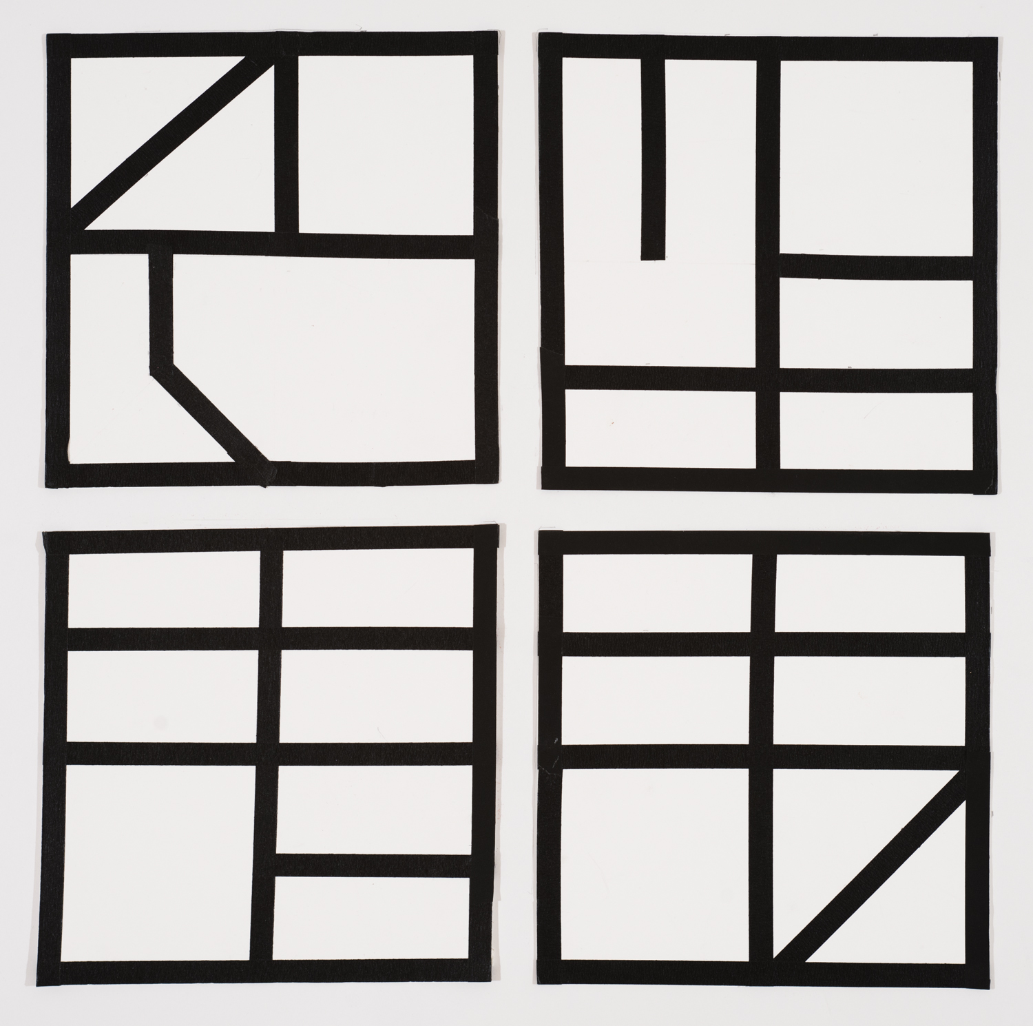 Small Letters,2014 Each drawing 9 by 9 inches Tape on paper