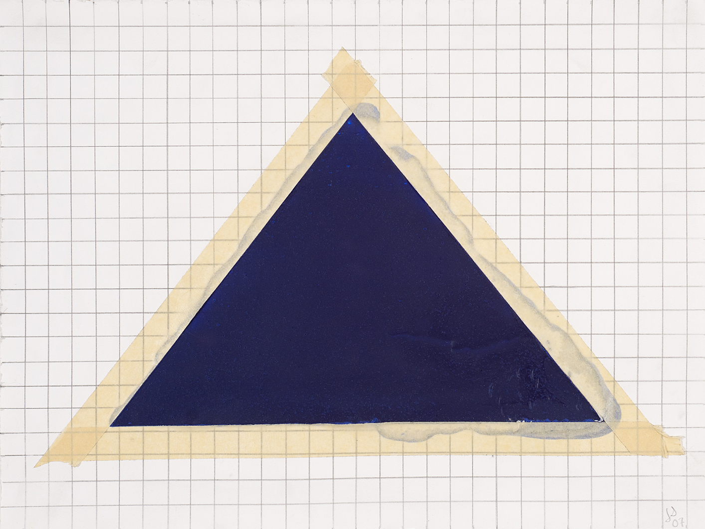 Blue Triangle and Tape on Grid,2007 15 by 20 inches Paint and tape on paper